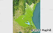 Physical Map of Ibaraki, satellite outside