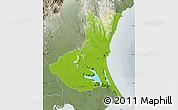 Physical Map of Ibaraki, semi-desaturated