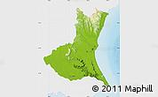 Physical Map of Ibaraki, single color outside