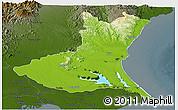 Physical Panoramic Map of Ibaraki, darken