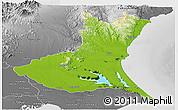 Physical Panoramic Map of Ibaraki, desaturated