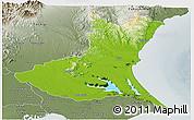 Physical Panoramic Map of Ibaraki, semi-desaturated