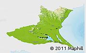Physical Panoramic Map of Ibaraki, single color outside
