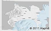Gray 3D Map of Kanagawa, single color outside