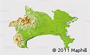 Physical 3D Map of Kanagawa, cropped outside