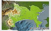Physical 3D Map of Kanagawa, darken