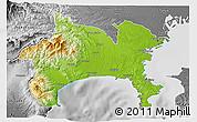 Physical 3D Map of Kanagawa, desaturated