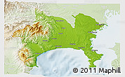 Physical 3D Map of Kanagawa, lighten