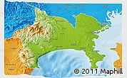 Physical 3D Map of Kanagawa, political outside