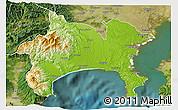 Physical 3D Map of Kanagawa, satellite outside