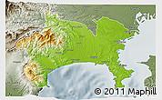 Physical 3D Map of Kanagawa, semi-desaturated