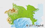 Physical 3D Map of Kanagawa, single color outside