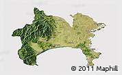 Satellite 3D Map of Kanagawa, cropped outside