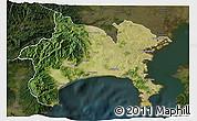 Satellite 3D Map of Kanagawa, darken