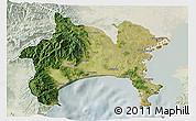 Satellite 3D Map of Kanagawa, lighten
