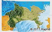 Satellite 3D Map of Kanagawa, political outside