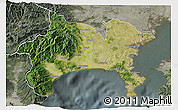 Satellite 3D Map of Kanagawa, semi-desaturated