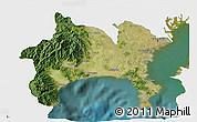 Satellite 3D Map of Kanagawa, single color outside