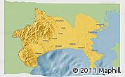 Savanna Style 3D Map of Kanagawa, single color outside