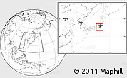 Blank Location Map of Kanagawa, within the entire country