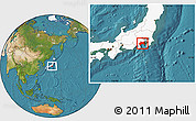 Satellite Location Map of Kanagawa, highlighted country