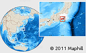 Shaded Relief Location Map of Kanagawa, highlighted parent region
