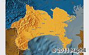 Political Map of Kanagawa, darken