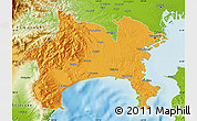 Political Map of Kanagawa, physical outside