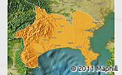 Political Map of Kanagawa, satellite outside