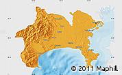 Political Map of Kanagawa, single color outside