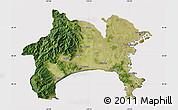 Satellite Map of Kanagawa, cropped outside