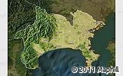 Satellite Map of Kanagawa, darken