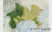 Satellite Map of Kanagawa, lighten
