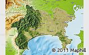 Satellite Map of Kanagawa, physical outside