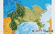 Satellite Map of Kanagawa, political outside