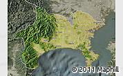 Satellite Map of Kanagawa, semi-desaturated