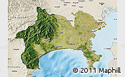 Satellite Map of Kanagawa, shaded relief outside
