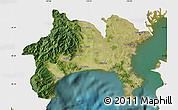 Satellite Map of Kanagawa, single color outside