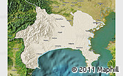 Shaded Relief Map of Kanagawa, satellite outside