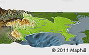 Physical Panoramic Map of Kanagawa, darken