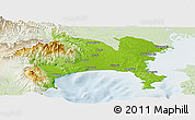 Physical Panoramic Map of Kanagawa, lighten