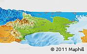 Physical Panoramic Map of Kanagawa, political outside