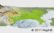 Physical Panoramic Map of Kanagawa, semi-desaturated