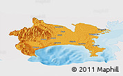 Political Panoramic Map of Kanagawa, single color outside
