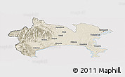 Shaded Relief Panoramic Map of Kanagawa, cropped outside