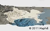 Shaded Relief Panoramic Map of Kanagawa, darken