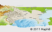 Shaded Relief Panoramic Map of Kanagawa, physical outside