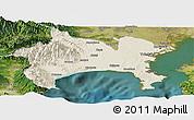 Shaded Relief Panoramic Map of Kanagawa, satellite outside
