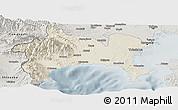 Shaded Relief Panoramic Map of Kanagawa, semi-desaturated