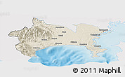 Shaded Relief Panoramic Map of Kanagawa, single color outside